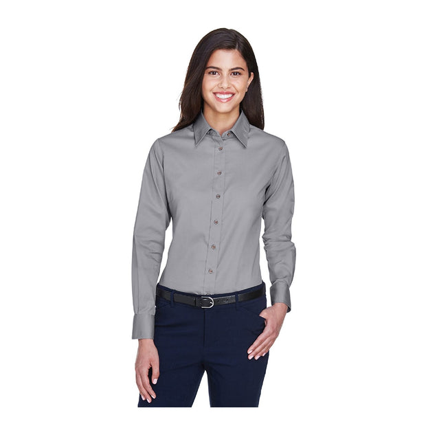 UNDFMS. Harriton Ladies' Easy Blend Twill Long Sleeve