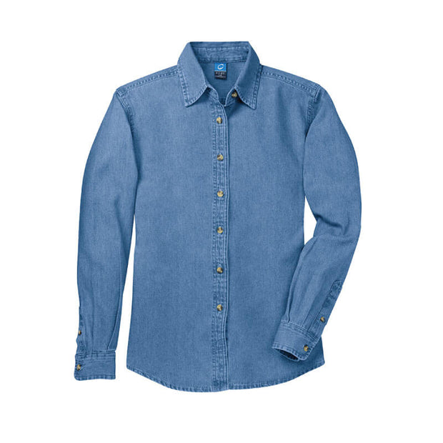NDSU108. Women's Long Sleeve Denim Shirt
