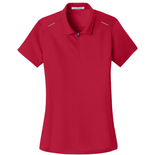 IBI202. Ladies' Port Authority Pinpoint Mesh Zip Polo