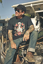 Biker girl Tshirt Men's in Black design by Howlin' Wolf Tattoo