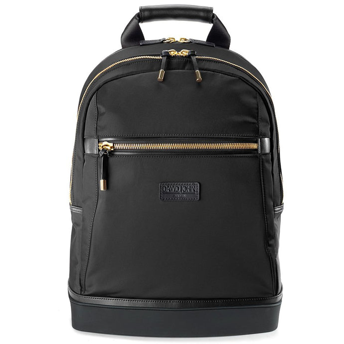 david john new york, madison backpack, black backpack, black and gold