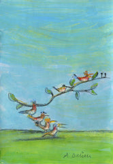 Comme des oiseaux sur une branche,   As the birds on the branch of thre