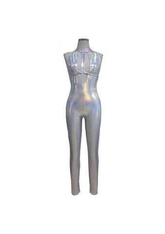 Silver Holographic Jumpsuit - Festival Professional