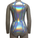 Silver Holographic Lace Up Bodysuit - Festival Professional