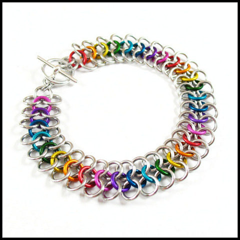 Rainbow European Chainmail Bracelet by Red Panda Chainmail :  custom rainbow metallic jumprings