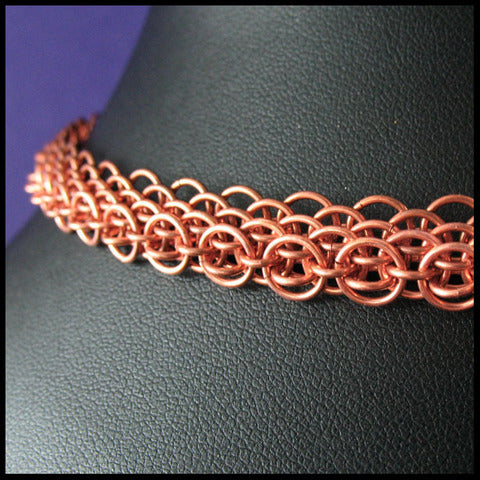 Copper Dragonscale Chainmail Necklace by Red Panda :  custom well-designed dragonscale metallic