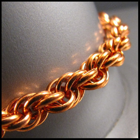 Copper Spiral Chainmail Bracelet