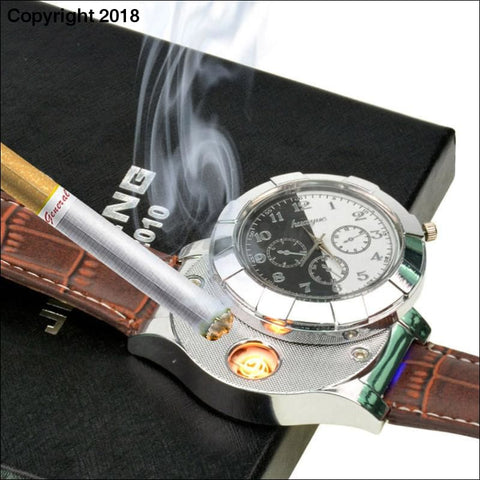 Wristwatch Watch with USB Rechargeable Electric Windproof Cigarette Lighter - watch