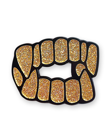 GOLD GRILLS ENAMEL PIN