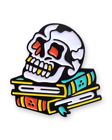 Skull Books Pin Badge