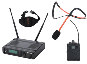 MyMic - COMMERCIAL - Bodypack Type Wireless Mic System w/ Lesmic Waterproof Fitness Headset - FSW-1000BL