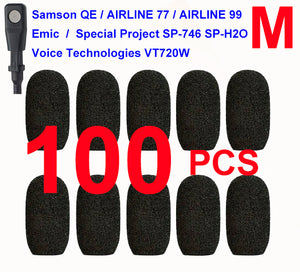 Emic, Samson QE / Airline 77 / Airline 99, Special Project SP-746 / SP-H2O, Voice-Technologies VT720W Oval Windscreen Mic Foams Windshield - 100-pack BLACK