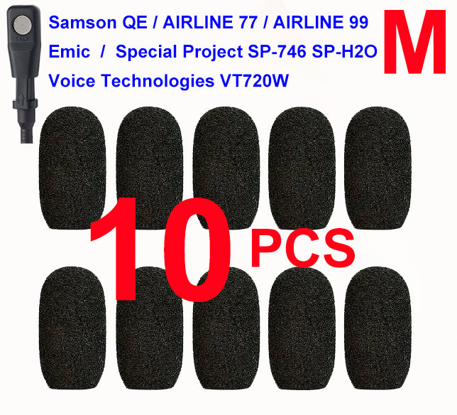 Emic, Samson QE / Airline 77 / Airline 99, Special Project SP-746 / SP-H2O, Voice-Technologies VT720W Oval Windscreen Mic Foams Windshield - 10-pack BLACK