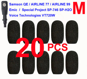 Emic, Samson QE / Airline 77 / Airline 99, Special Project SP-746 / SP-H2O, Voice-Technologies VT720W Oval Windscreen Mic Foams Windshield - 20-pack BLACK