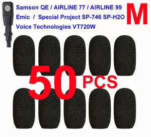 Emic, Samson QE / Airline 77 / Airline 99, Special Project SP-746 / SP-H2O, Voice-Technologies VT720W Oval Windscreen Mic Foams Windshield - 50-pack BLACK