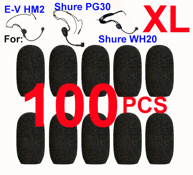 Shure PG30 / WH20, E-V HM2 Oval Windscreen Mic Foams Windshield - 100-pack BLACK