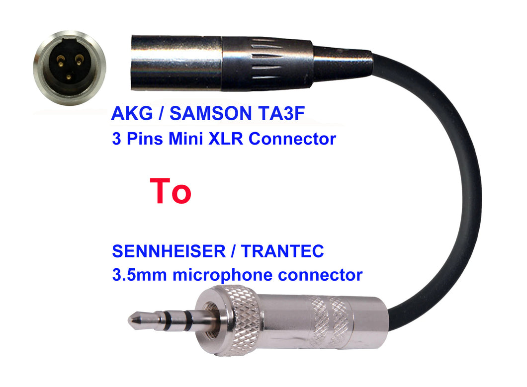 Microphone Adapter - AKG / Samson Microphones with TA3F 3 pin mini XLR  connector TO Sennheiser / Trantec Transmitters with 3.5mm locking connector