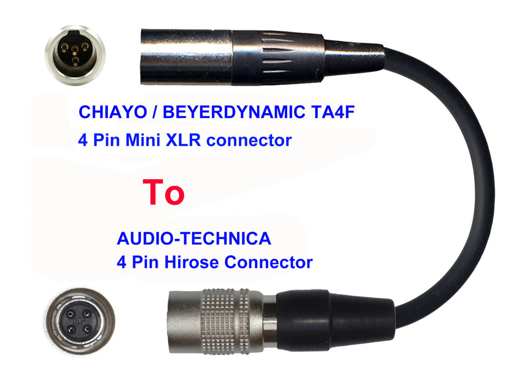 Microphone Adapter - Chiayo / JTS / Line6 / Beyerdynamic Microphones with TA4F 4 pin mini XLR connector TO Audio-Technica Transmitters with 4 pin TA4M connector