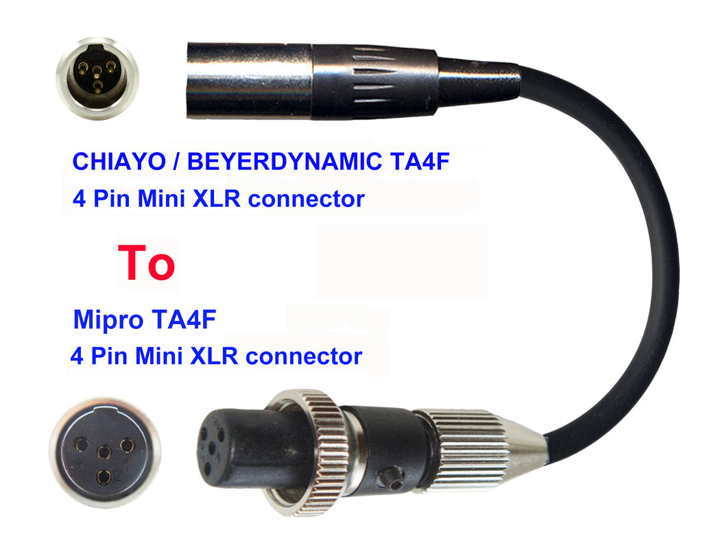 Microphone Adapter - Chiayo / JTS / Line6 / Beyerdynamic Microphones with TA4F 4 pin mini XLR connector TO Mipro Transmitters with 4 pin TA4M Locking connector
