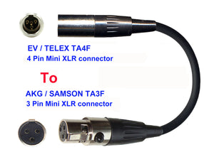 Microphone Adapter - EV / Telex Microphones with TA4F 4 pin mini XLR connector TO AKG / Samson Transmitters with 3 pin TA3M connector