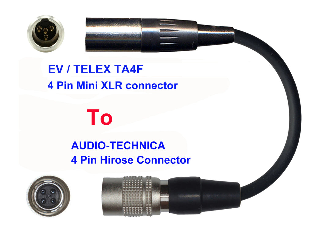 Microphone Adapter - EV / Telex Microphones with TA4F 4 pin mini XLR connector TO Audio-Technica Transmitters with 4 pin TA4M connector