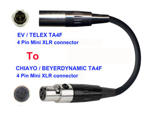 Microphone Adapter - EV / Telex Microphones with TA4F 4 pin mini XLR connector TO Chiayo / JTS / Line6 / Beyerdynamic Transmitters with 4pin TA4M connector