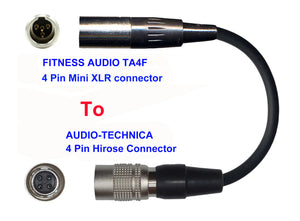 Microphone Adapter - Fitness Audio / Aeromic / Emic Microphones with TA4F 4 pin mini XLR connector TO Audio-Technica Transmitters with 4 pin TA4M connector