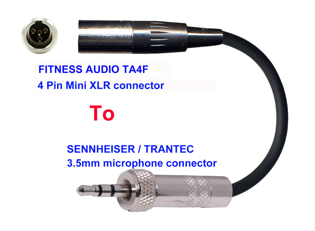 Microphone Adapter - Fitness Audio / Aeromic / Emic Microphones with TA4F 4 pin mini XLR connector TO Sennheiser / Trantec Transmitters with 3.5mm Locking connector