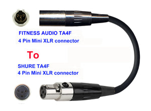 Microphone Adapter - Fitness Audio / Aeromic / Emic Microphones with TA4F 4 pin mini XLR connector TO Shure Transmitters with 4pin TA4M connector