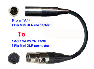 Microphone Adapter - Mipro Microphones with TA4F 4 pin mini XLR Locking connector TO AKG / Samson Transmitters with 3 pin TA3M connector