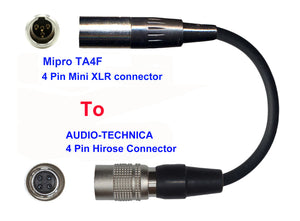 Microphone Adapter - Mipro Microphones with TA4F 4 pin mini XLR Locking connector TO Audio-Technica Transmitters with 4 pin TA4M connector