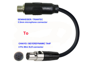 Microphone Adapter - Sennheiser / Trantec Microphones with 3.5mm Locking connector TO Chiayo / JTS / Line6 / Beyerdynamic Transmitters with 4 pin TA4M connector