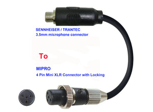 Microphone Adapter - Sennheiser / Trantec Microphones with 3.5mm Locking connector TO Mipro Transmitters with 4 Pin TA4M Locking connector