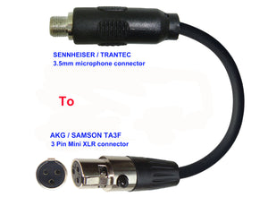 Microphone Adapter - Sennheiser / Trantec Microphones with 3.5mm Locking connector TO AKG / Samson Transmitters with 3 pin TA3M connector