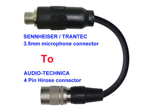 Microphone Adapter - Sennheiser / Trantec Microphones with 3.5mm Locking connector TO Audio-Technica Transmitters with 4 pin TA4M connector