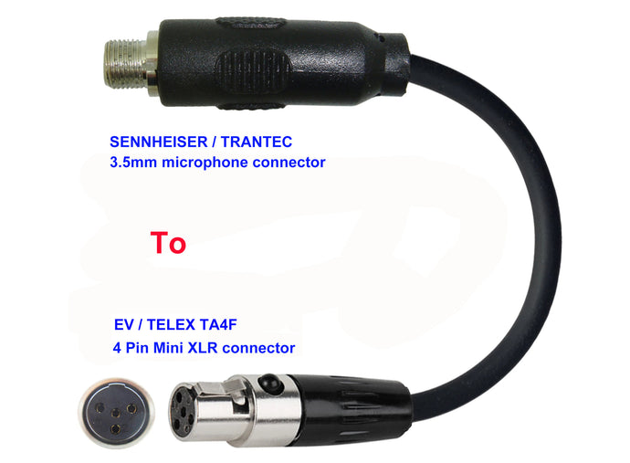 Microphone Adapter - Sennheiser / Trantec Microphones with 3.5mm Locking connector TO EV / Telex Transmitters with 4 pin TA4M connector