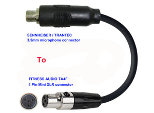Microphone Adapter - Sennheiser / Trantec Microphones with 3.5mm Locking connector TO Fitness Audio Transmitters with 4 pin TA4M connector