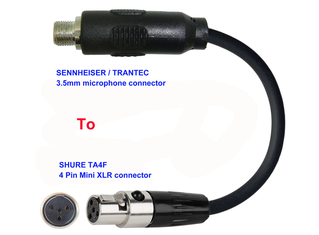Microphone Adapter - Sennheiser / Trantec Microphones with 3.5mm Locking connector TO Shure Transmitters with 4pin TA4M connector