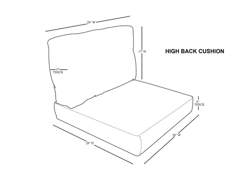 high back cushion cover