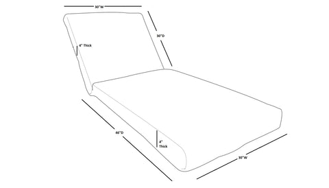 Chaise lounge replacement cover size