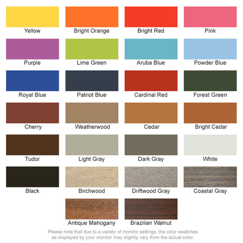 Available colors for poly lumber adirondack chairs