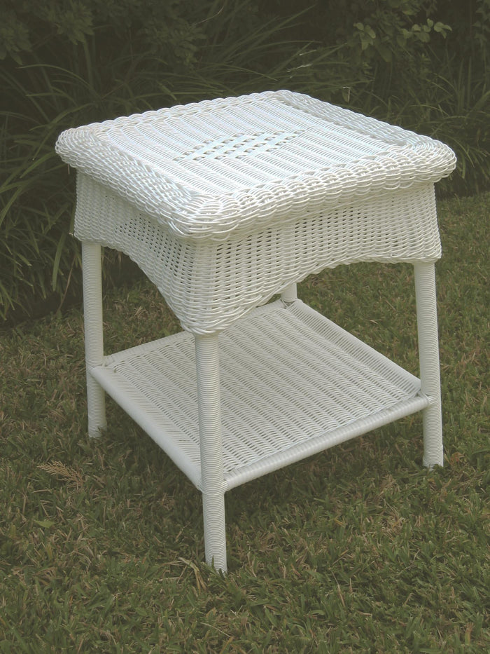 Outdoor Large Side Table – Resin Wicker & Steel – Maui
