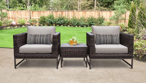 Patio Furniture - TKC Outdoor Wicker Patio Furniture – Club Chairs & Side Table – Barcelona