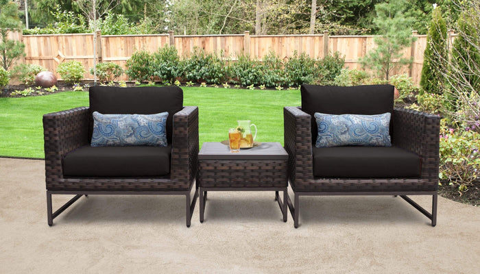 TKC Outdoor Wicker Patio Furniture – Club Chairs & Side Table – Barcelona