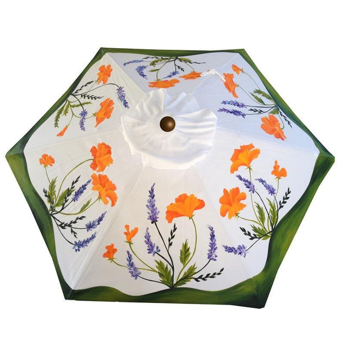Hand Painted Custom Garden Art Umbrella - California Golden Poppies & Lupins