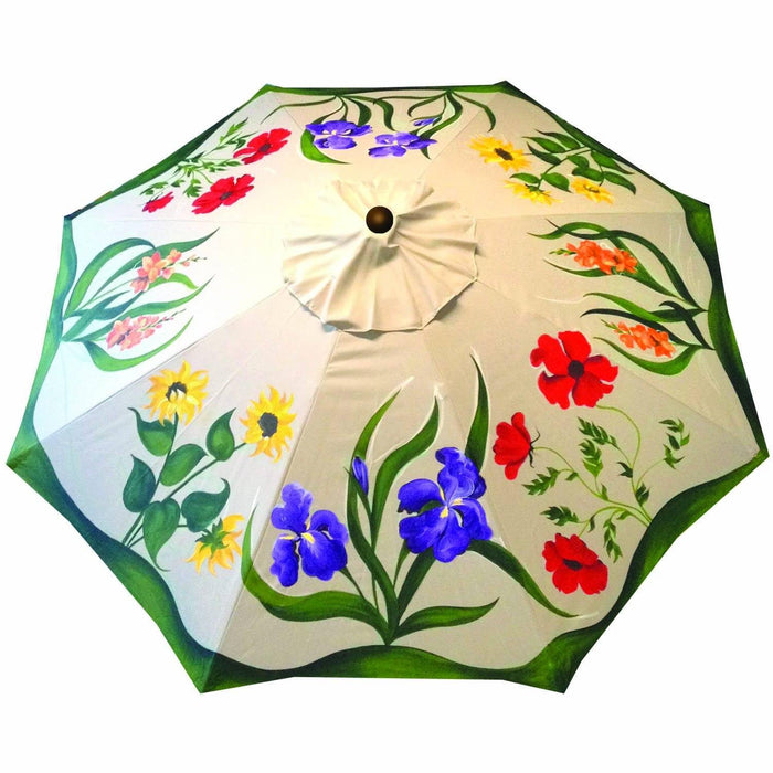 Hand Painted Custom Garden Art Umbrella - California Garden