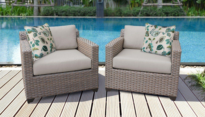 TKC Outdoor Wicker Patio Furniture – Set of 2 Club Chairs – Florence