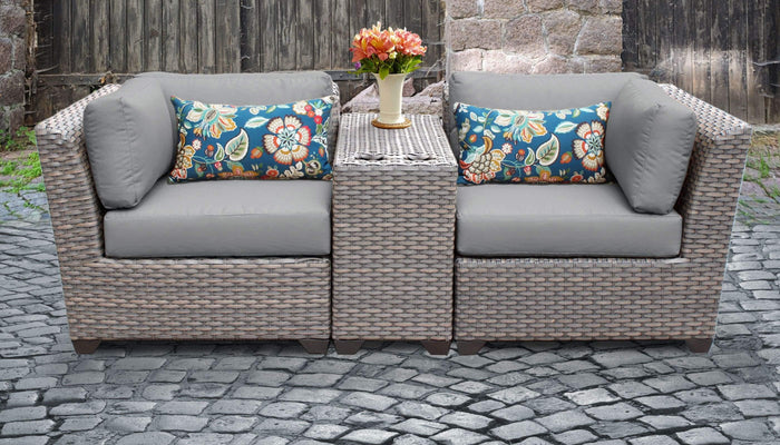 TKC Outdoor Wicker Patio Furniture Set 3 Pieces Divided Loveseat – Florence