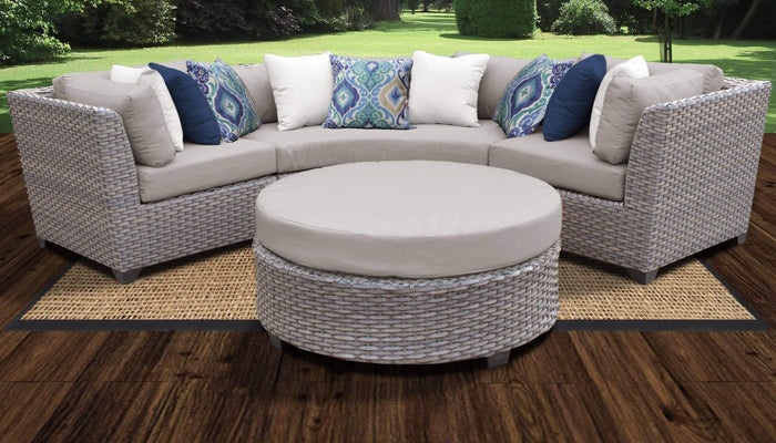 Patio Furniture - TKC Outdoor Wicker Patio Furniture – 4 Piece Curved Sofa, Table, Clips – Florence