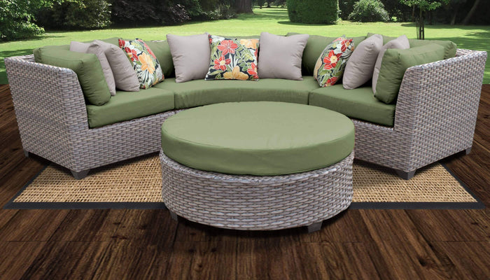 TKC Outdoor Wicker Patio Furniture – 4 Piece Curved Sofa, Table, Clips – Florence